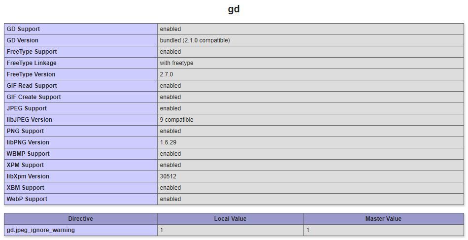Проверка того подключена ли библиотека gd или нет